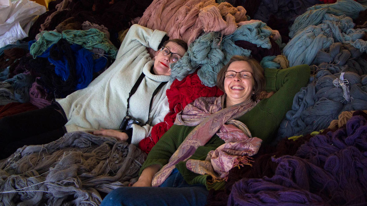 Gwen & Heike on wool pile