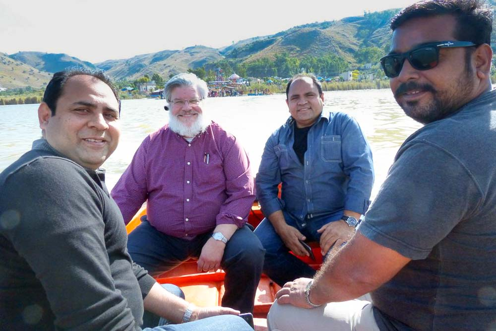 Ehsan, Doug, Yousaf and Afaq on our motorboat.