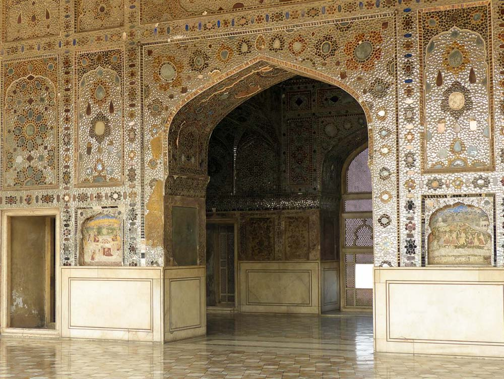 The Sheesh Mahal (hall of mirrors) inside the Lahore Fort.