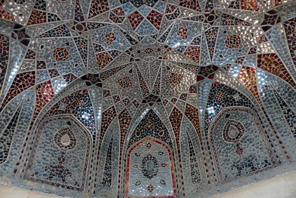 Mirror and glass work on the domed roof of the Sheesh Mahal.