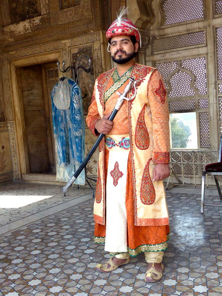 Actor in Mughal era dress at the Lahore Fort.