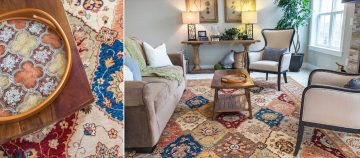 bunyaad chobi tribal rug in living room