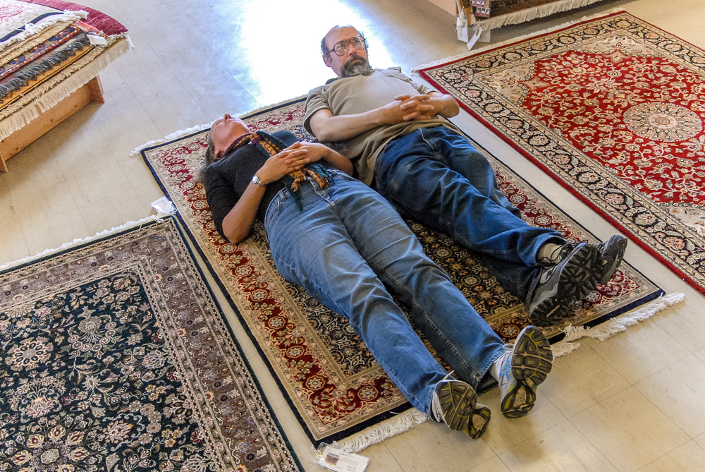 Take a nap on and see how it feels. You'll both love the rug.