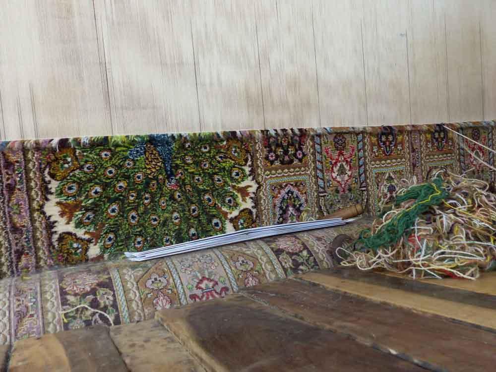 Peacock design on Rasoom's 9 x 12 foot rug.