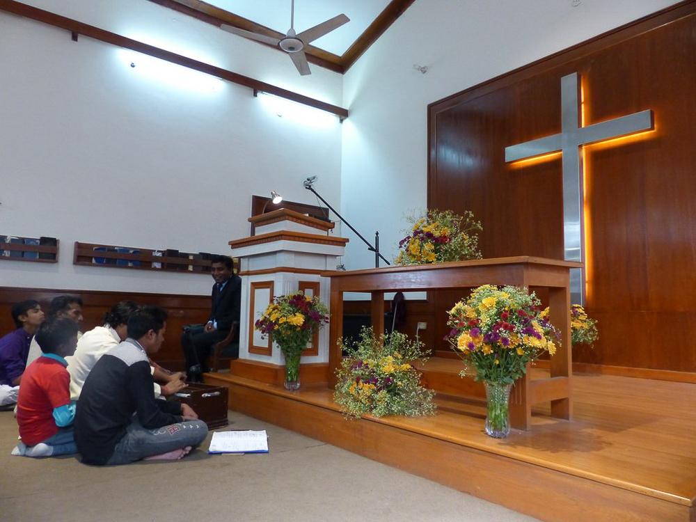 Interior of St. John's Baptist Church where we attended on Sunday.