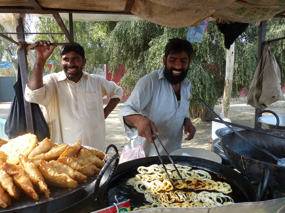 Roadside jalebi stand on the way to Chistian – delicious hot, sweet snacks.