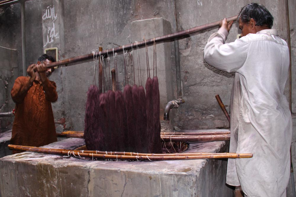 Synthetic dyeing of wool